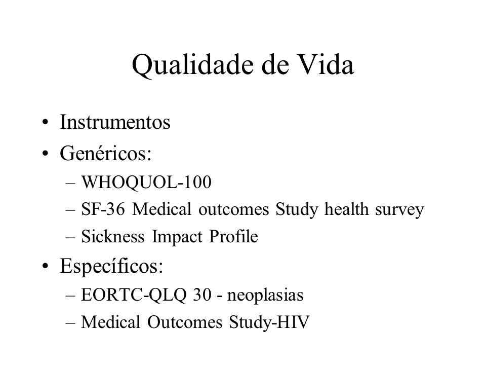 Qualidade de Vida Instrumentos Genéricos: Específicos: WHOQUOL-100