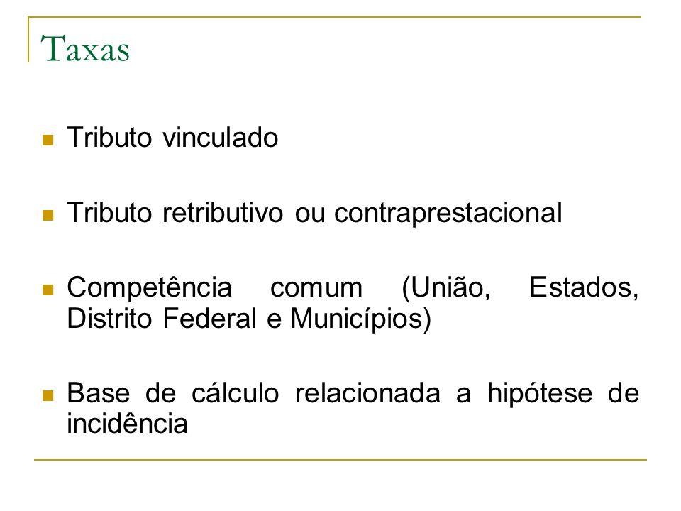 Taxas Tributo vinculado Tributo retributivo ou contraprestacional