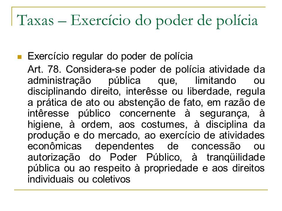Taxas – Exercício do poder de polícia