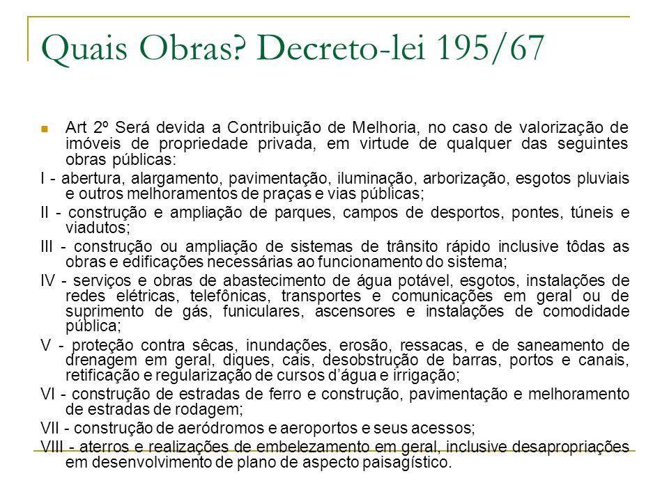 Quais Obras Decreto-lei 195/67
