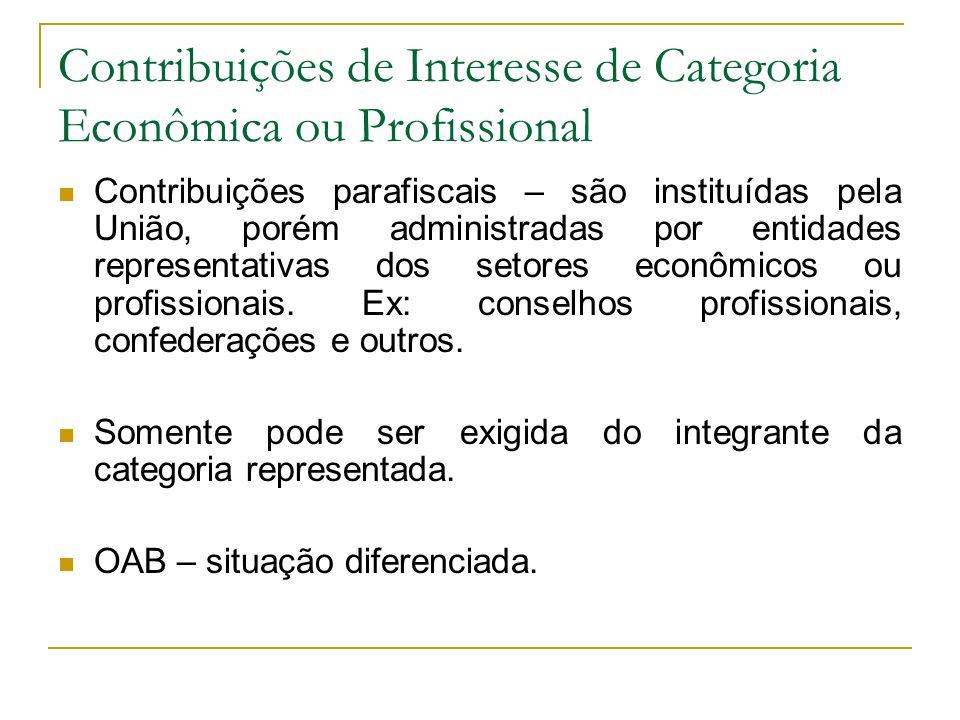 Contribuições de Interesse de Categoria Econômica ou Profissional