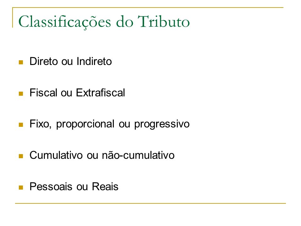 Classificações do Tributo