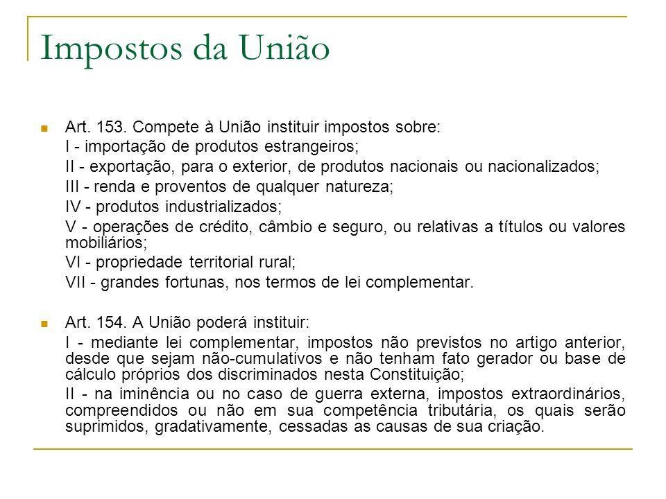 Impostos da União Art. 153. Compete à União instituir impostos sobre: