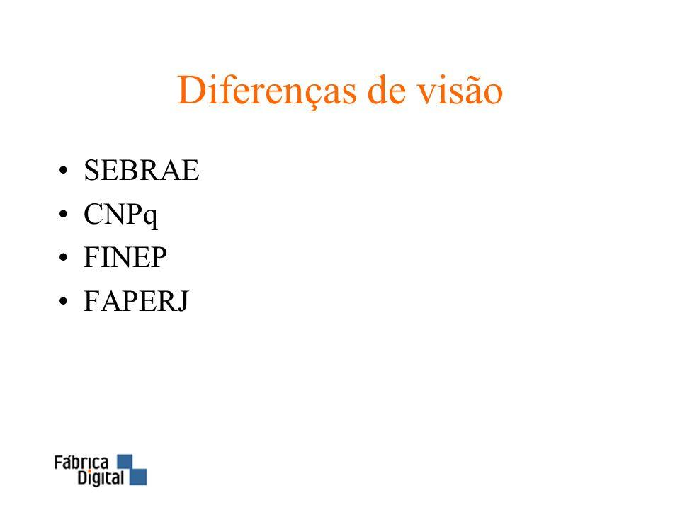 Diferenças de visão SEBRAE CNPq FINEP FAPERJ