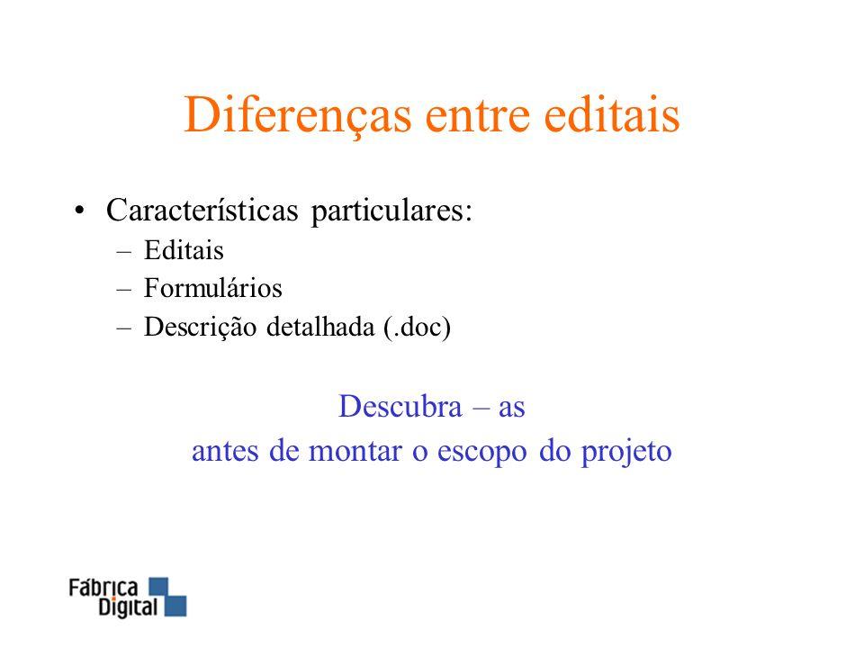 Diferenças entre editais