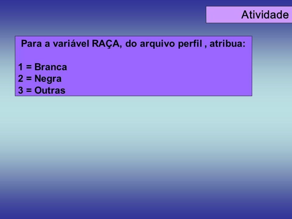 Para a variável RAÇA, do arquivo perfil , atribua: