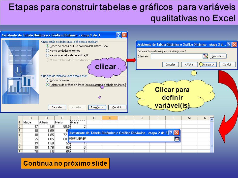 Clicar para definir variável(is)
