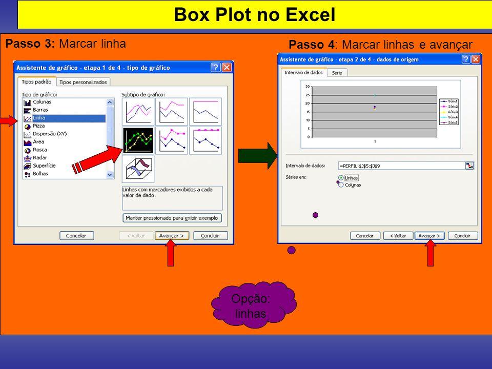 Box Plot no Excel Passo 3: Marcar linha