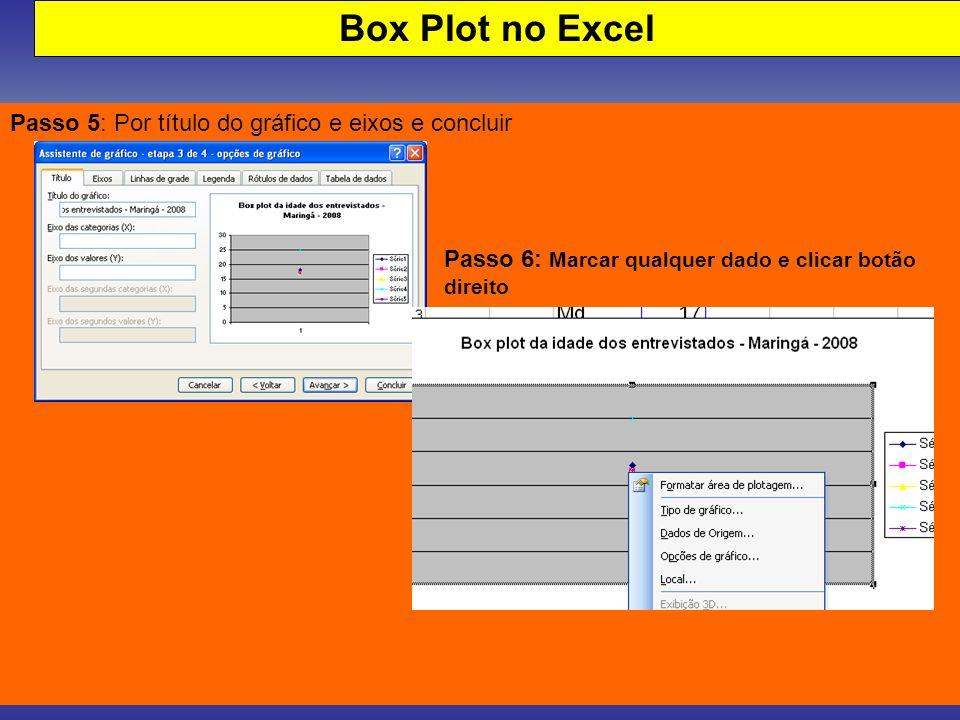Box Plot no Excel Passo 5: Por título do gráfico e eixos e concluir