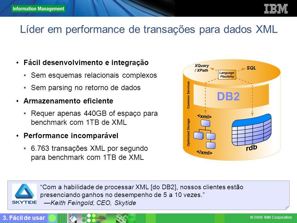 Líder em performance de transações para dados XML