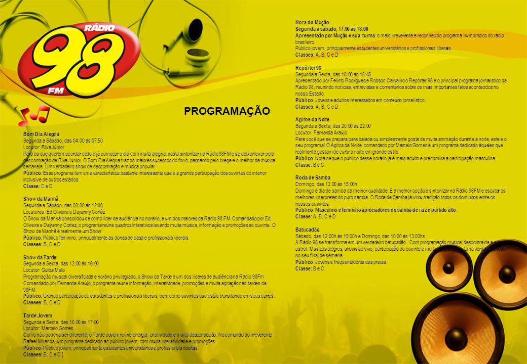 PROGRAMAÇÃO Hora do Mução Segunda a sábado, 17:00 as 18:00