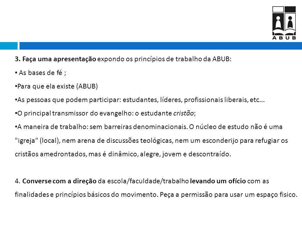 3. Faça uma apresentação expondo os princípios de trabalho da ABUB: