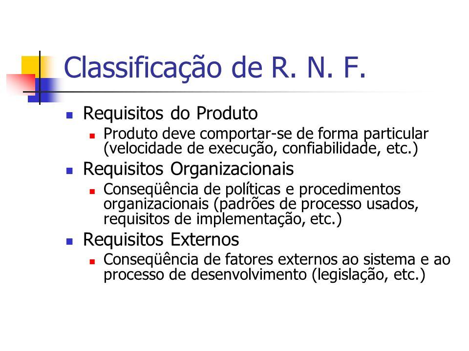 Classificação de R. N. F. Requisitos do Produto
