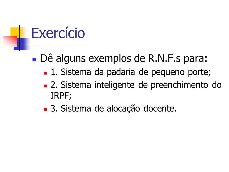 Exercício Dê alguns exemplos de R.N.F.s para: