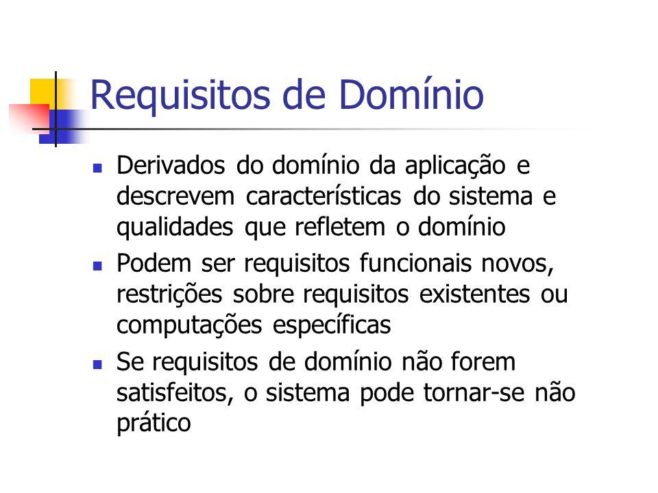 Requisitos de Domínio Derivados do domínio da aplicação e descrevem características do sistema e qualidades que refletem o domínio.