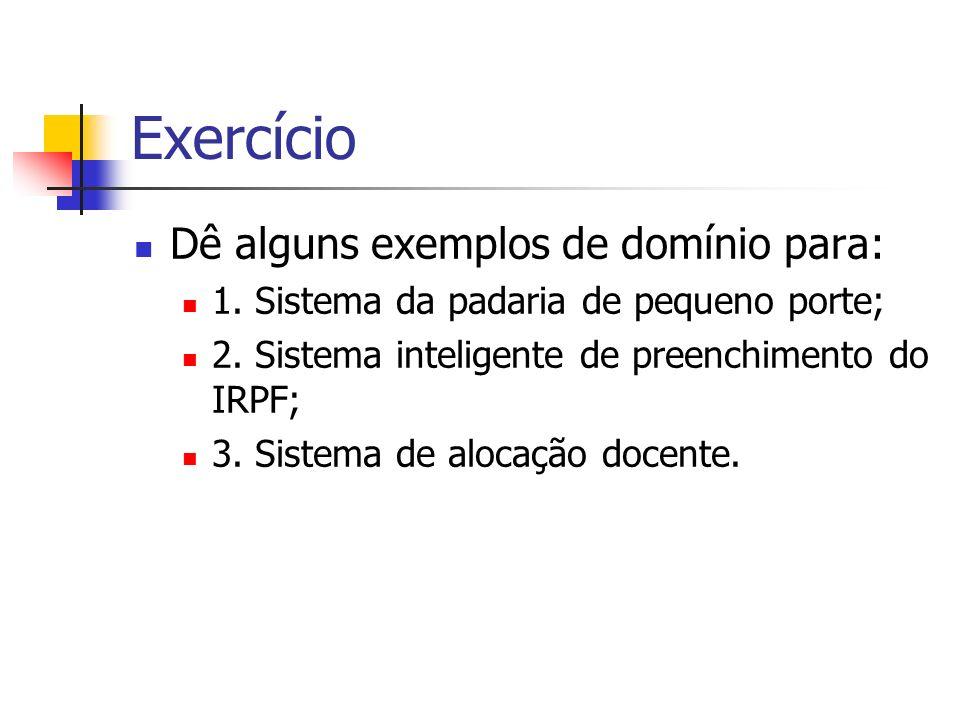 Exercício Dê alguns exemplos de domínio para: