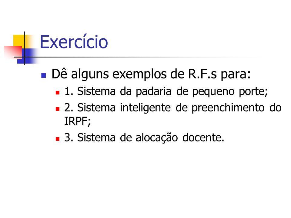 Exercício Dê alguns exemplos de R.F.s para: