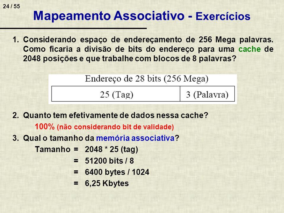 Mapeamento Associativo - Exercícios