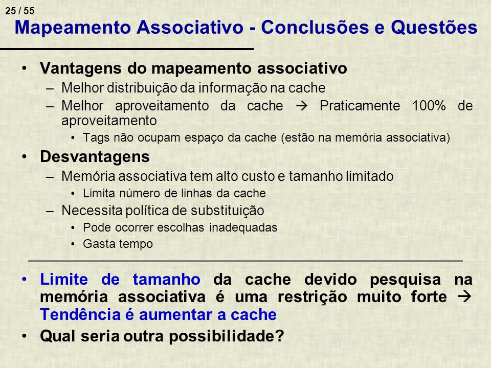 Mapeamento Associativo - Conclusões e Questões