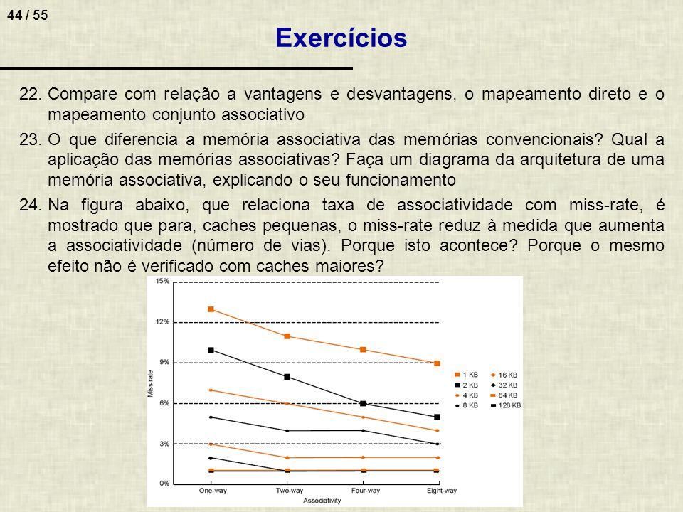 Exercícios Compare com relação a vantagens e desvantagens, o mapeamento direto e o mapeamento conjunto associativo.