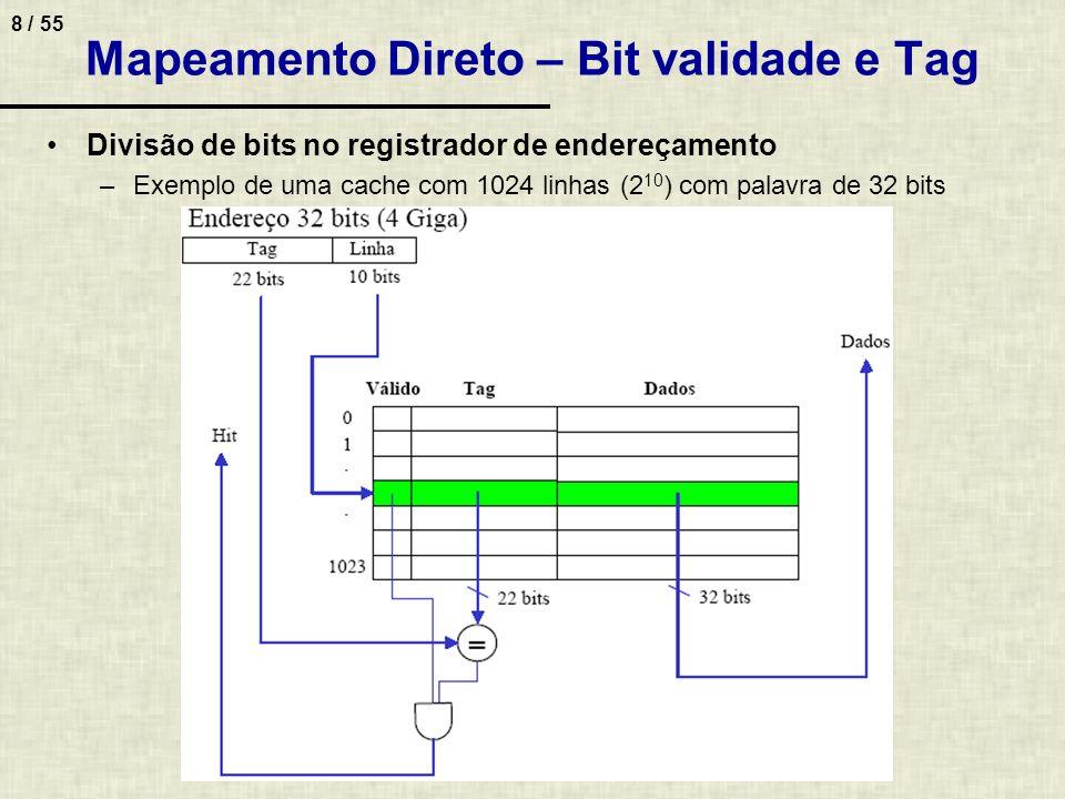 Mapeamento Direto – Bit validade e Tag