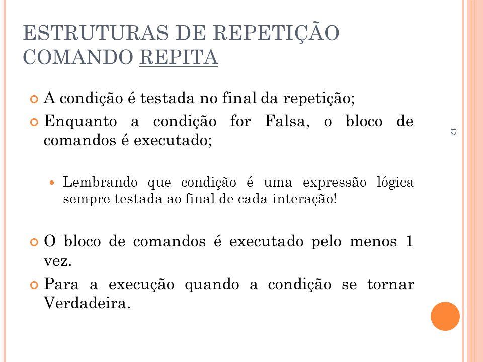 ESTRUTURAS DE REPETIÇÃO COMANDO REPITA