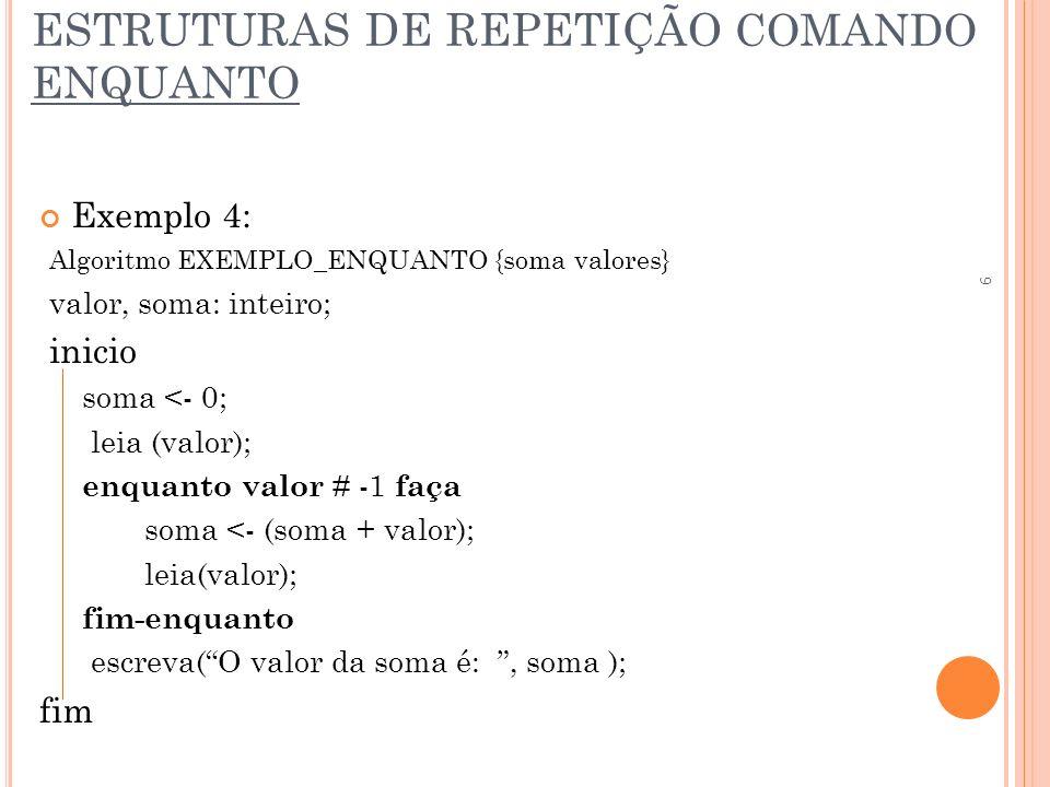 ESTRUTURAS DE REPETIÇÃO COMANDO ENQUANTO