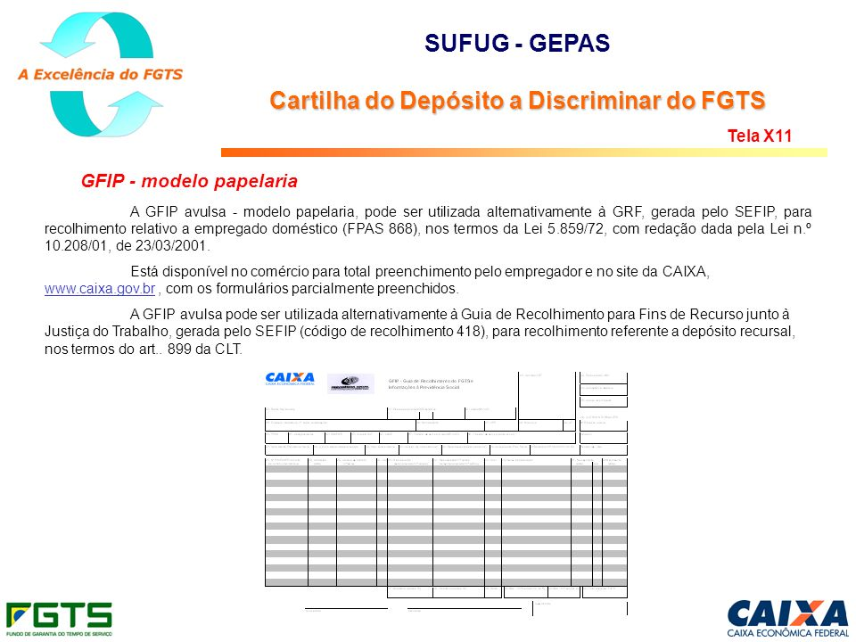 SUFUG - GEPAS Cartilha do Depósito a Discriminar do FGTS