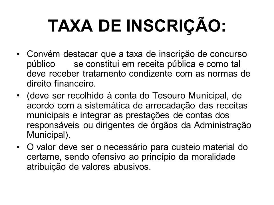TAXA DE INSCRIÇÃO: