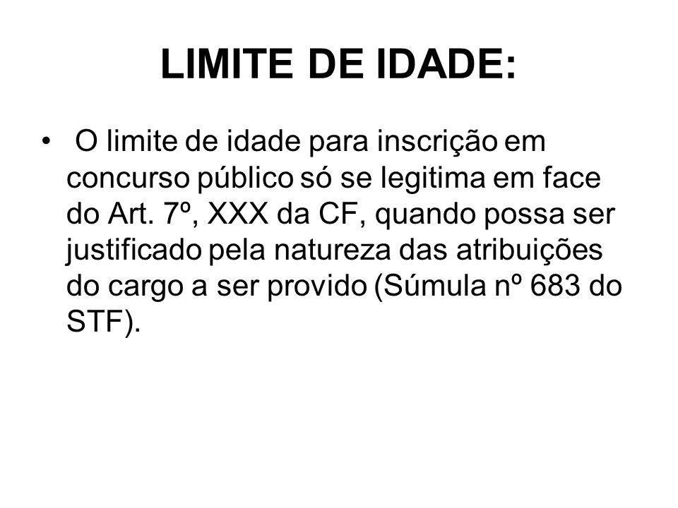 LIMITE DE IDADE: