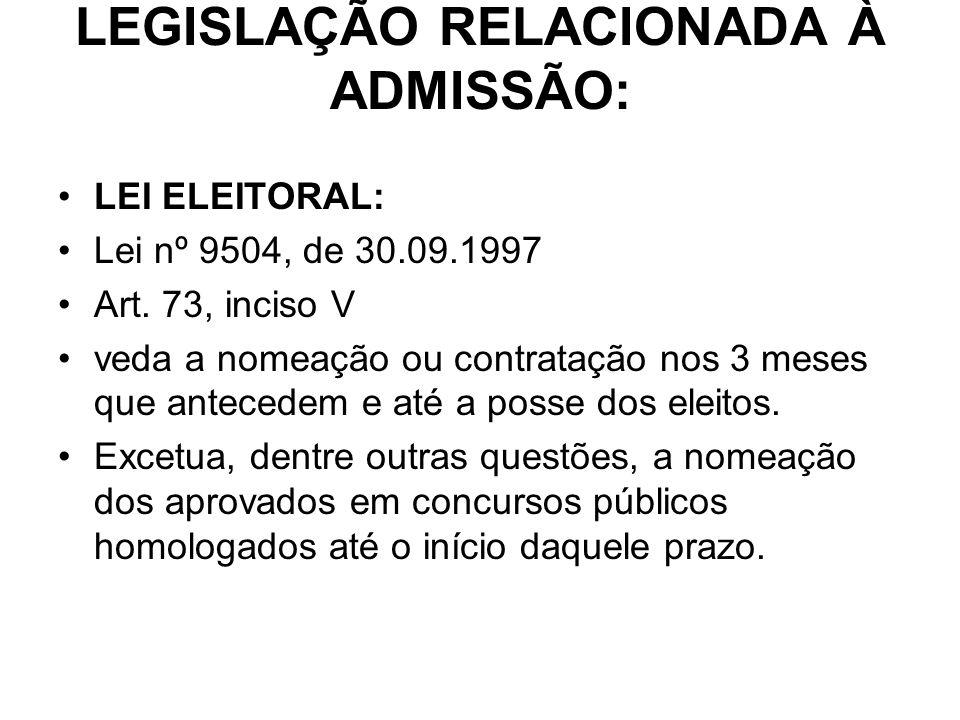 LEGISLAÇÃO RELACIONADA À ADMISSÃO: