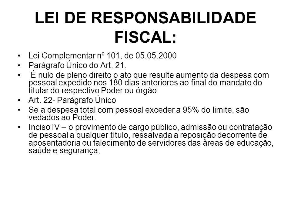 LEI DE RESPONSABILIDADE FISCAL: