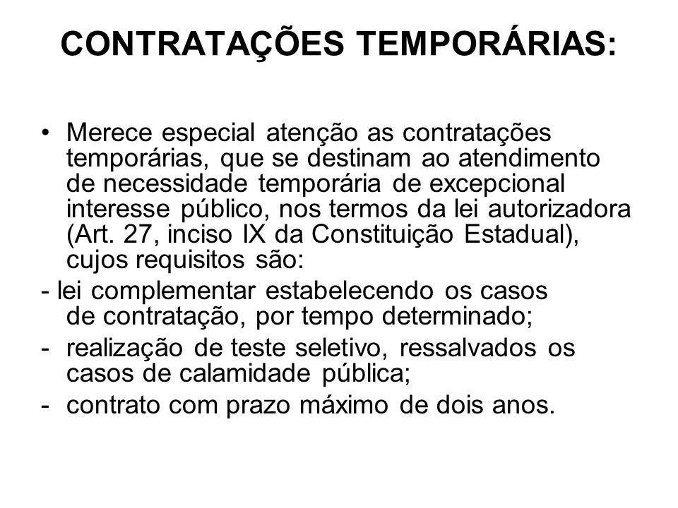 CONTRATAÇÕES TEMPORÁRIAS:
