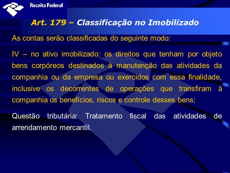Art. 179 – Classificação no Imobilizado