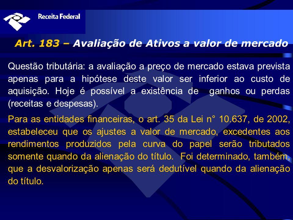 Art. 183 – Avaliação de Ativos a valor de mercado