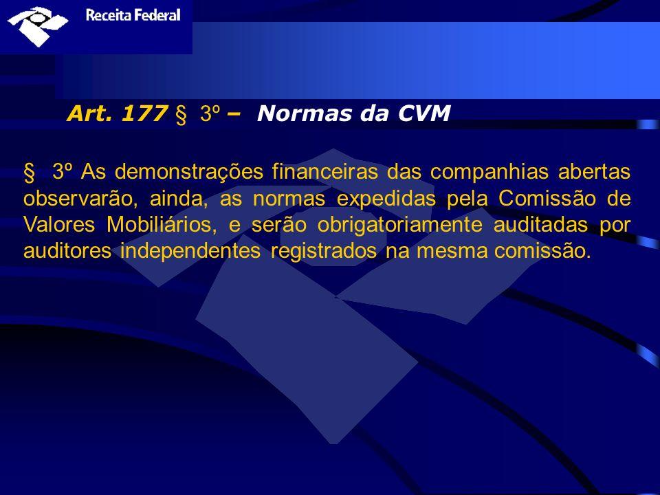 Art. 177 § 3º – Normas da CVM