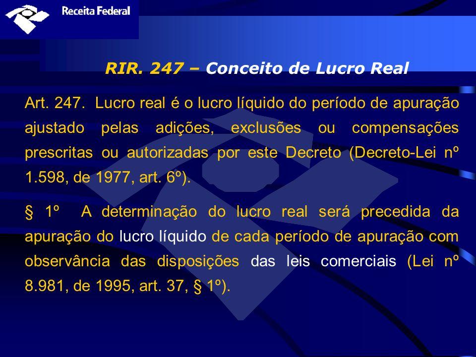 RIR. 247 – Conceito de Lucro Real