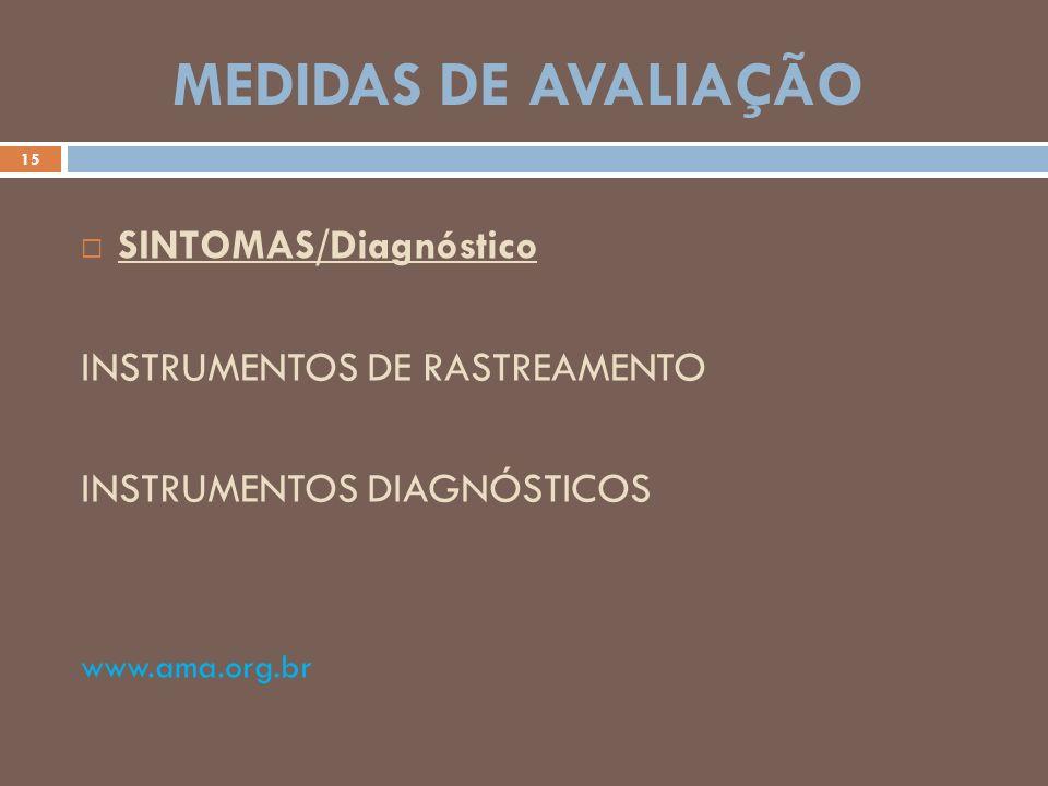 MEDIDAS DE AVALIAÇÃO SINTOMAS/Diagnóstico INSTRUMENTOS DE RASTREAMENTO