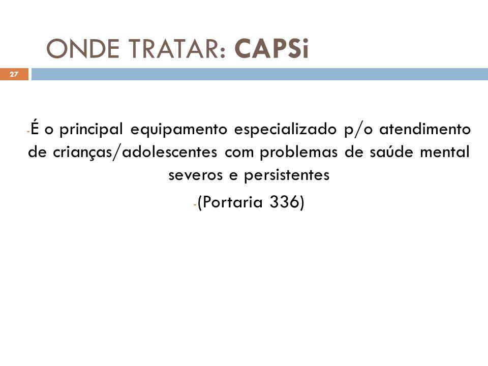 ONDE TRATAR: CAPSi