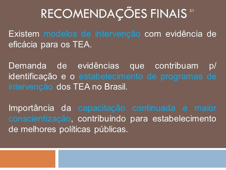 RECOMENDAÇÕES FINAIS Existem modelos de intervenção com evidência de eficácia para os TEA.