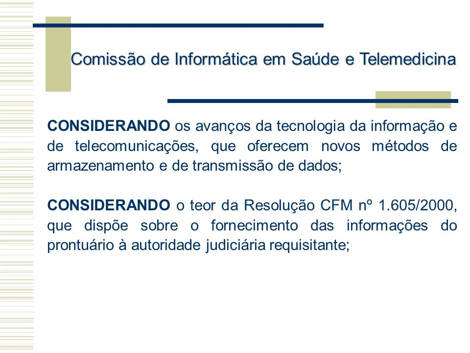 Comissão de Informática em Saúde e Telemedicina