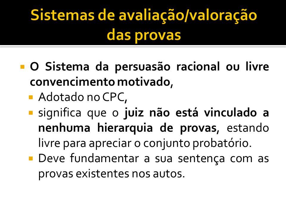 Sistemas de avaliação/valoração das provas