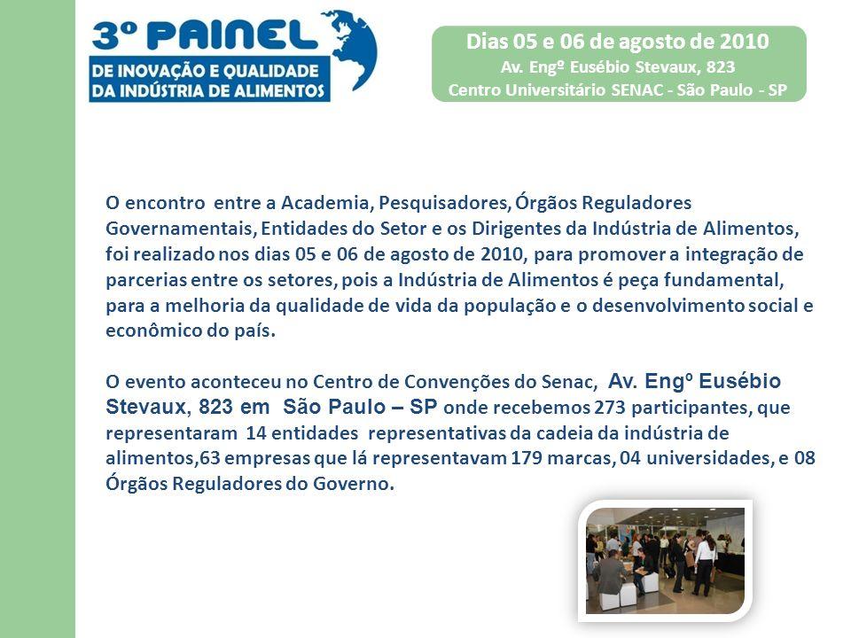 Dias 05 e 06 de agosto de 2010 Av. Engº Eusébio Stevaux, 823. Centro Universitário SENAC - São Paulo - SP.