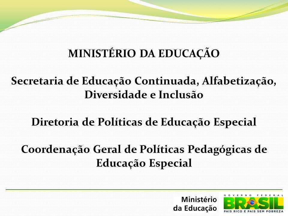 MINISTÉRIO DA EDUCAÇÃO Secretaria de Educação Continuada, Alfabetização, Diversidade e Inclusão Diretoria de Políticas de Educação Especial Coordenação Geral de Políticas Pedagógicas de Educação Especial