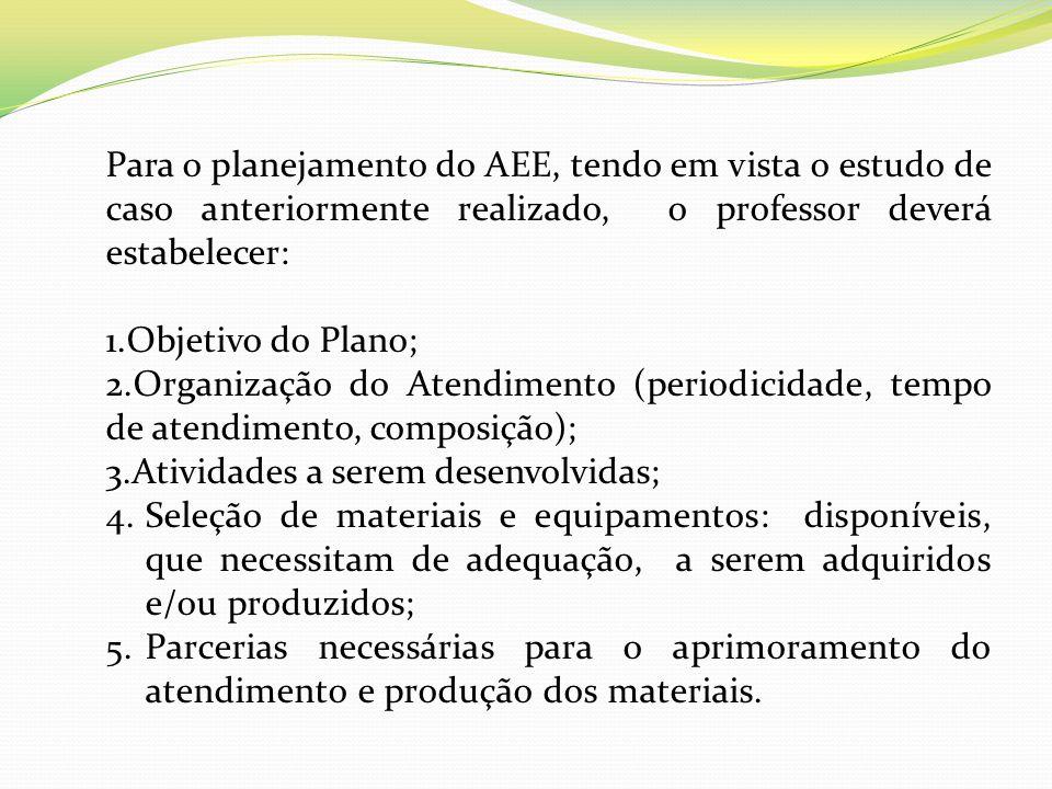 Para o planejamento do AEE, tendo em vista o estudo de caso anteriormente realizado, o professor deverá estabelecer: