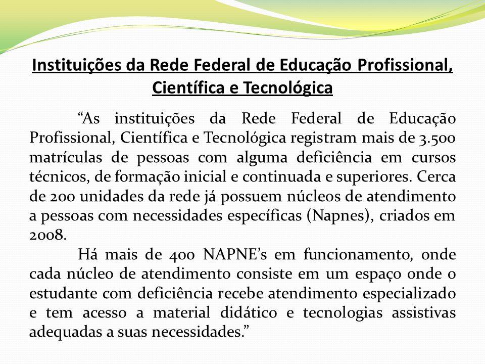 Instituições da Rede Federal de Educação Profissional, Científica e Tecnológica