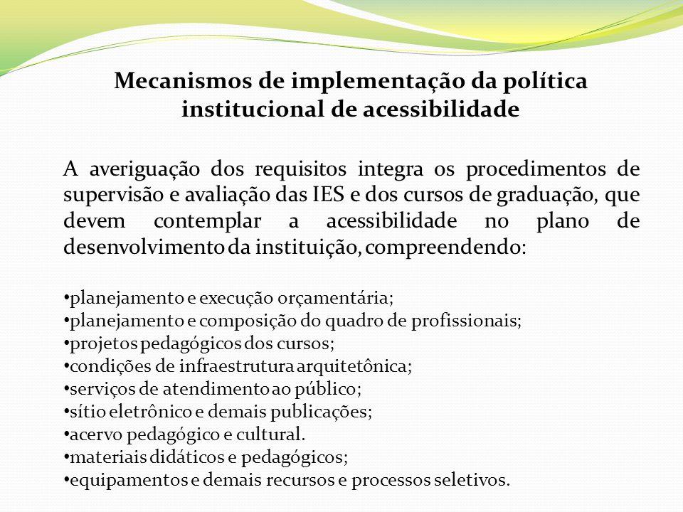 Mecanismos de implementação da política institucional de acessibilidade