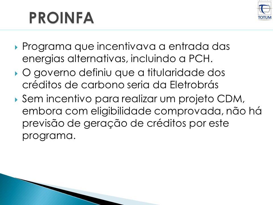 PROINFAPrograma que incentivava a entrada das energias alternativas, incluindo a PCH.
