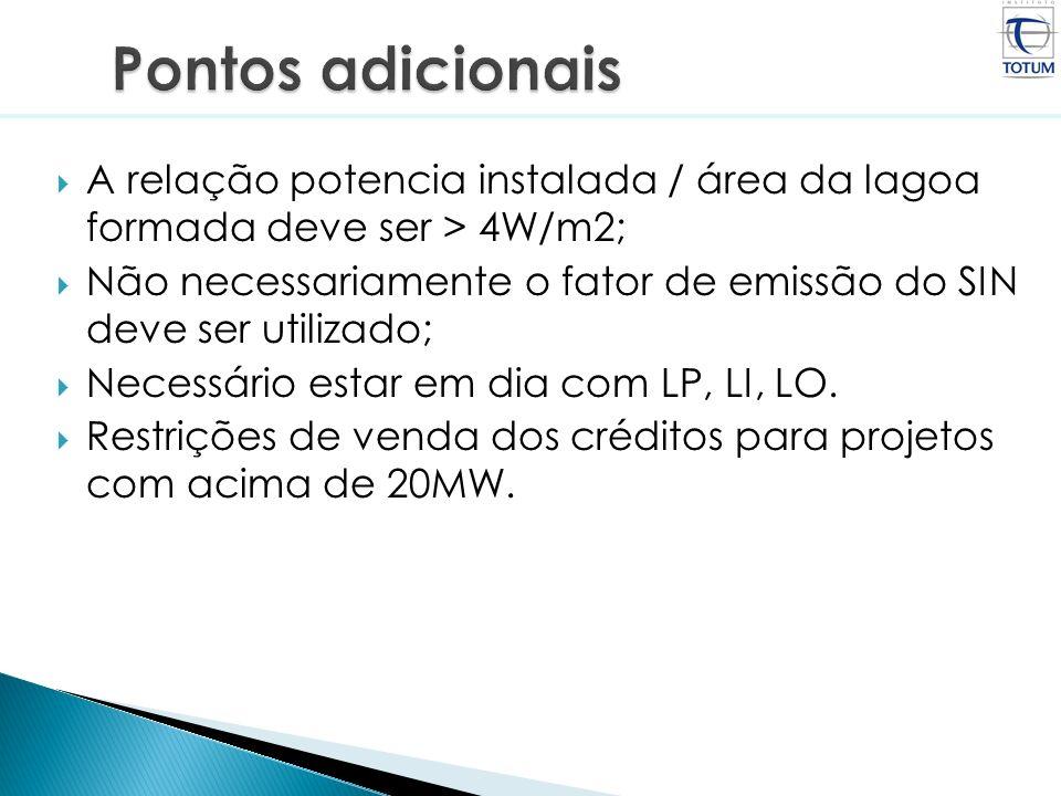 Pontos adicionaisA relação potencia instalada / área da lagoa formada deve ser > 4W/m2;
