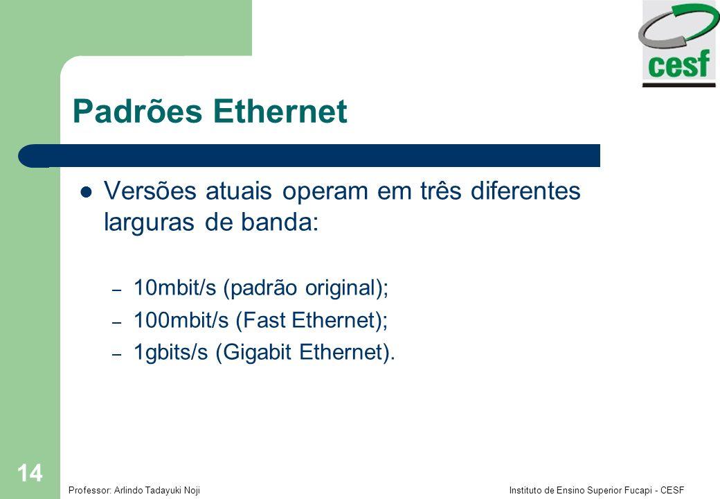 Padrões Ethernet Versões atuais operam em três diferentes larguras de banda: 10mbit/s (padrão original);